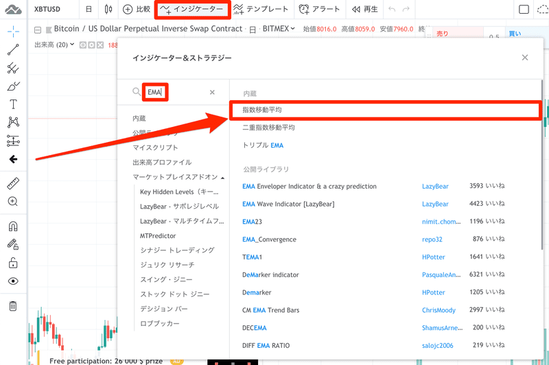 TradingView_インジケーター検索