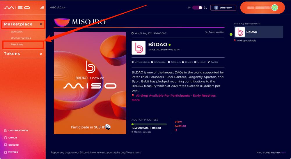 BitDAOを購入したあとのMISOでの受け取り方